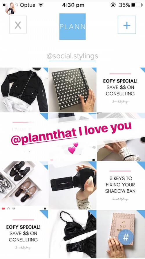 Plann App Instagram Stories