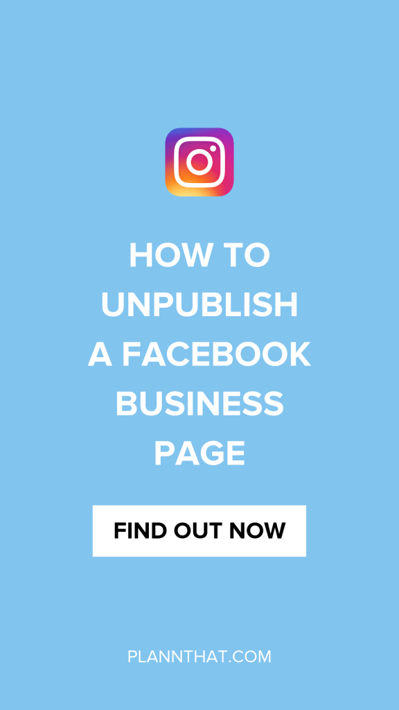 unpublish facebook page