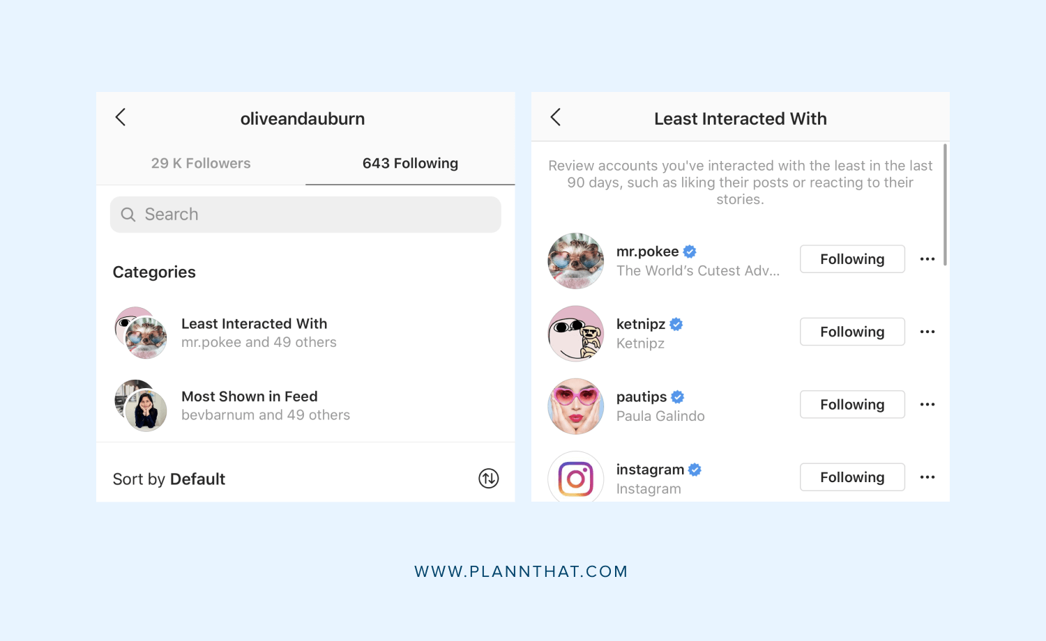 filter your following