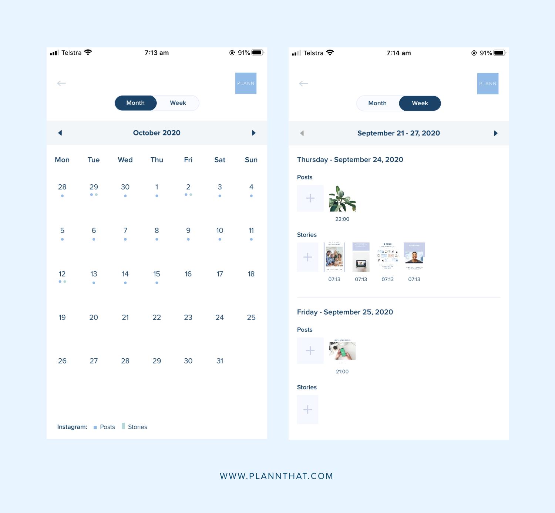 plann app calendar