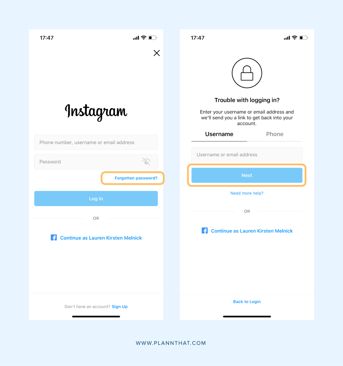 Reset Instagram password