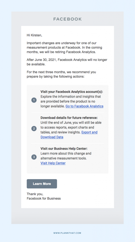 Facebook is removing analytics