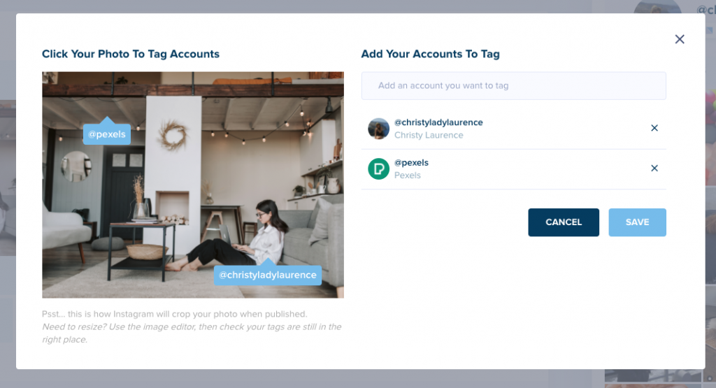 Tagging users in Instagram posts using Plann