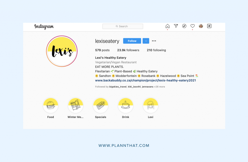 Restaurant Instagram bio