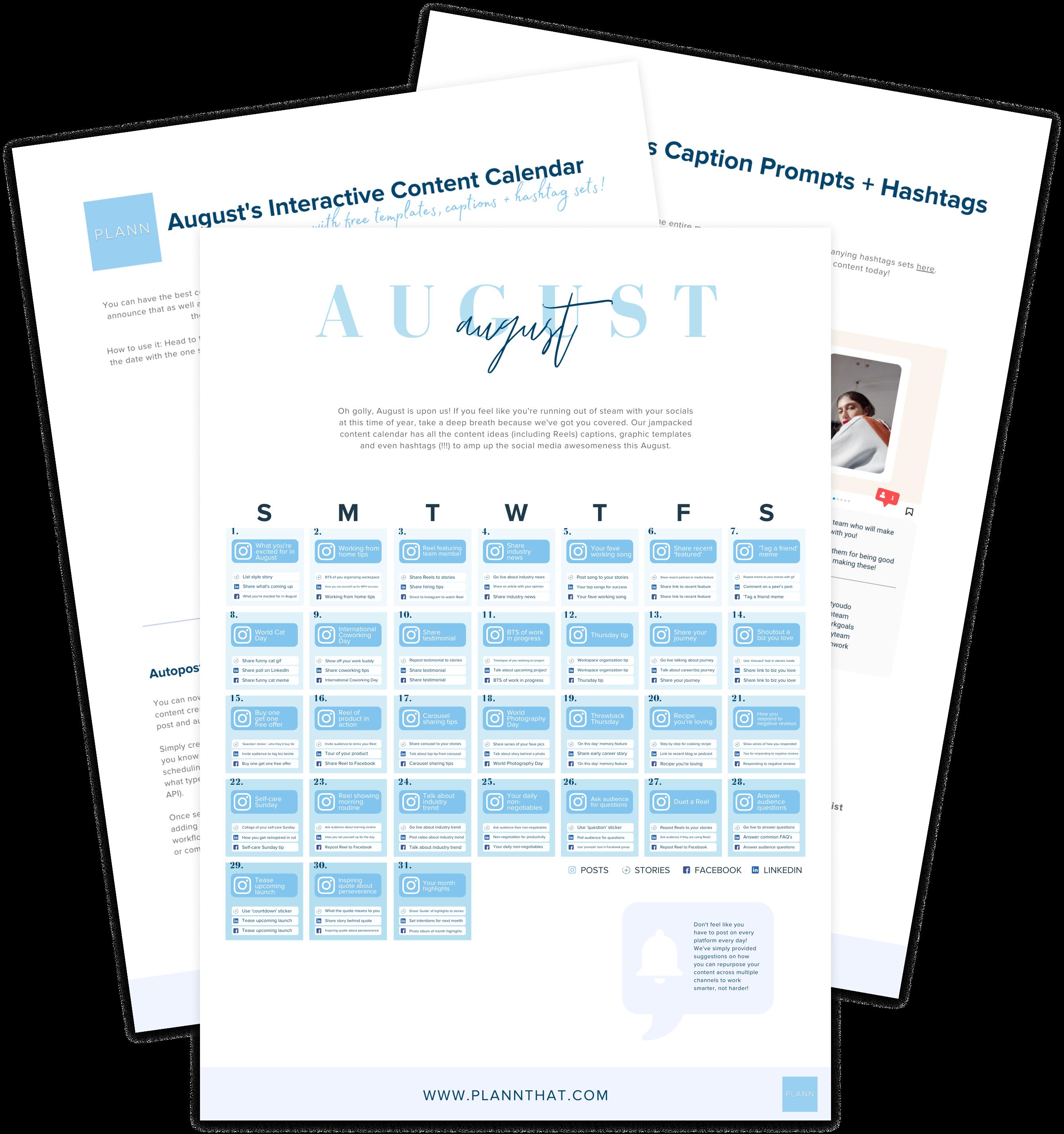 august content calendar