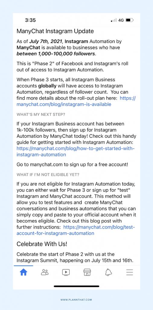 Instagram ManyChat Update
