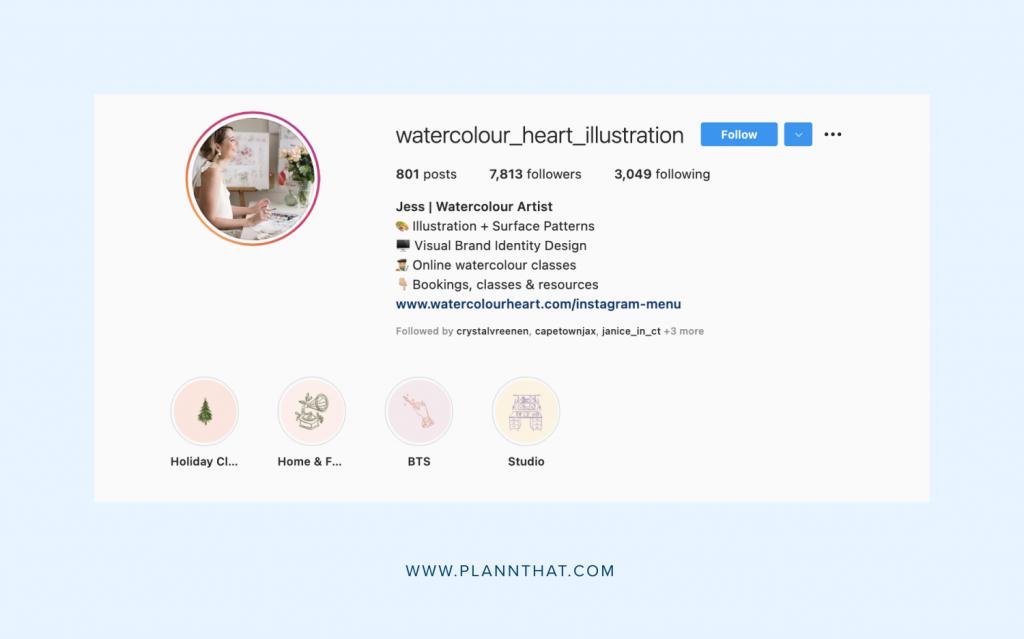 Instagram artist bio