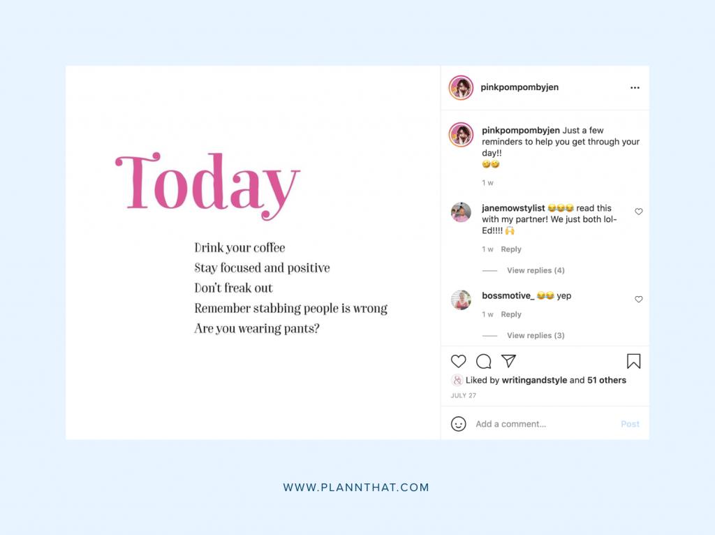 Pink PomPom by Jen Instagram Grid