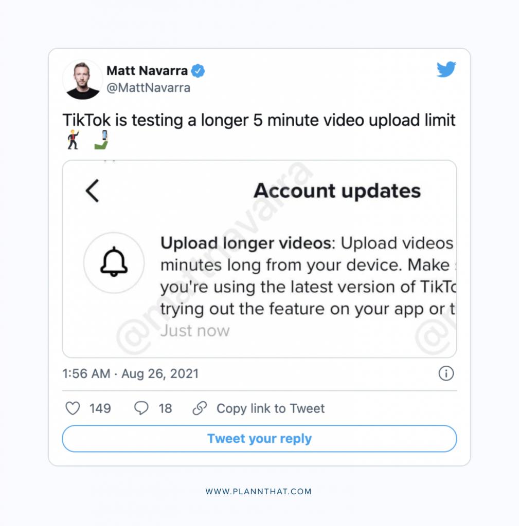 TikTok Testing 5 minute videos Tweet