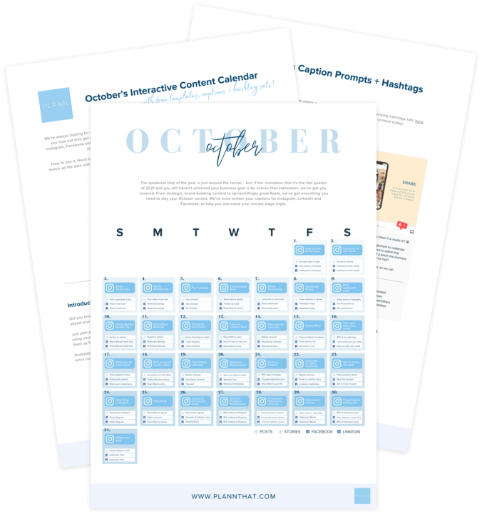 31 days of content ideas, captions and templates
